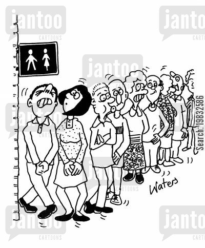 toilet queues cartoon humor: Queue for the toilet.