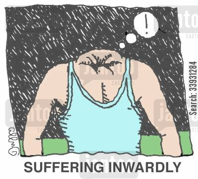 angst cartoon humor: Suffering Inwardly.