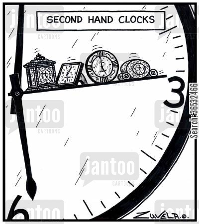 second hands cartoon humor: Second hand clocks.