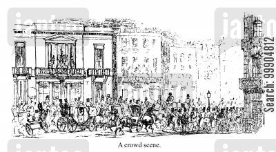 hansom cab cartoon humor: A crowded scene.