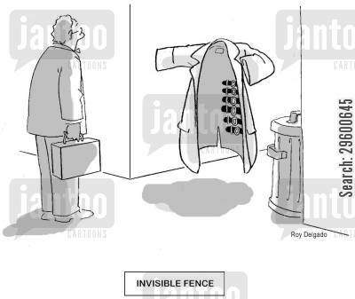 see through cartoon humor: 'Invisible fence'