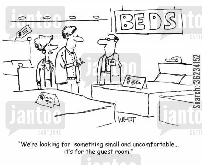 new beds cartoon humor: We're looking for something small and uncomfortable...it's for the guest room.