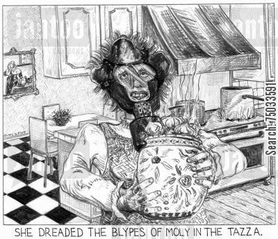 stench cartoon humor: 'She dreaded the blypes of moly in the tazza.'