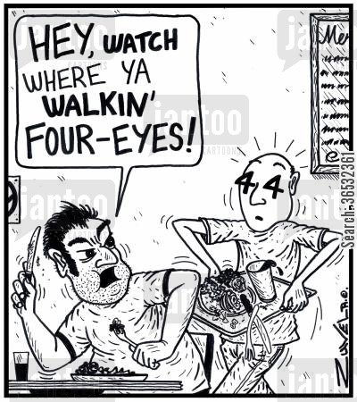 collides cartoon humor: 'Hey, watch where ya walkin' four-eyes!'