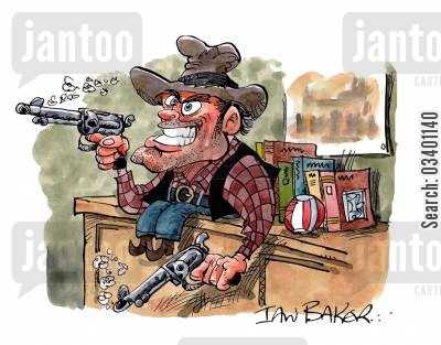 out west cartoon humor: Cowboy.
