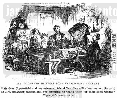 copperfield cartoon humor: Mr. Micawber delivers some valedictory remarks