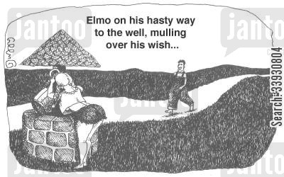 sexy lady cartoon humor: Elmo on his hasty way to the well, mulling over his wish...