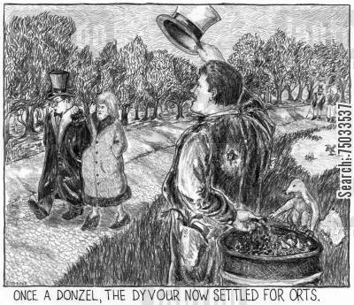 dialect cartoon humor: 'Once a donzel, the dyvour now settled for orts.'