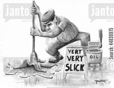 banana skins cartoon humor: A man is mopping a floor with a banana peel mop and a bucket of oil.