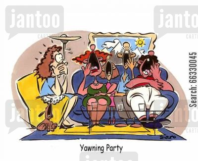 dinner party cartoon humor: Yawning Party.