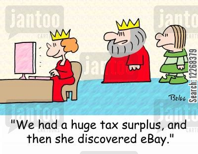 online shopper cartoon humor: 'We had a huge tax surplus, and then she discovered eBay.'