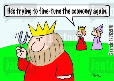 tunning fork cartoon humor: 'He's trying to fine-tune the economy again.'