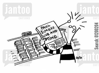 record shops cartoon humor: Paul Simon- Live and Timid