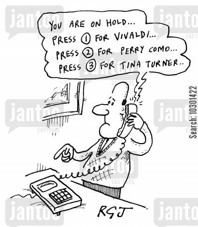 choices cartoon humor: You are on hold. Press One for Vivaldi...