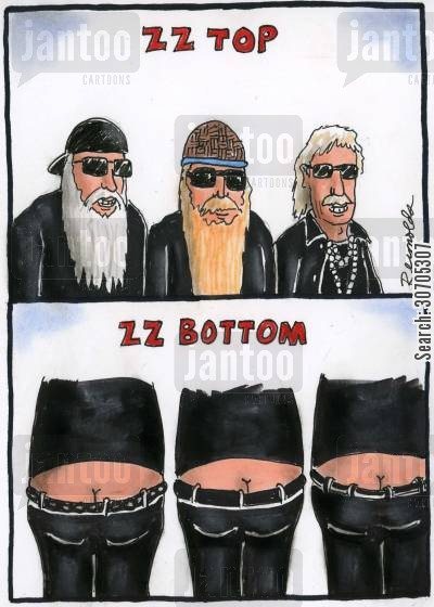 musical cartoon humor: ZZ Top.