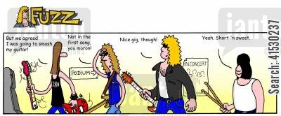 band members cartoon humor: Fuzz - Max smashes his guitar.
