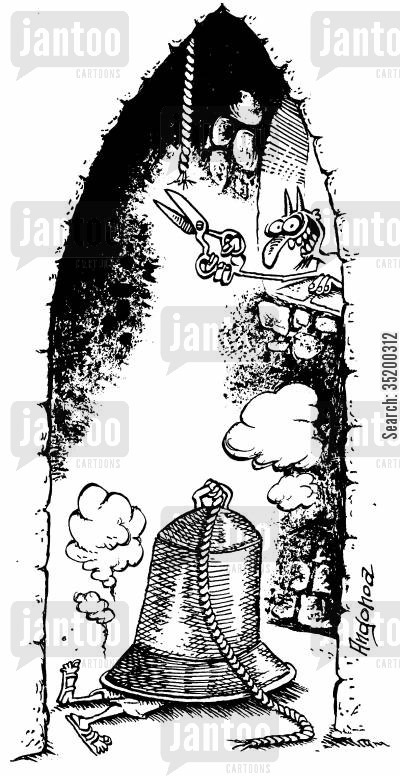 bell ringers cartoon humor: The Devil dropping church bell on bell ringer.