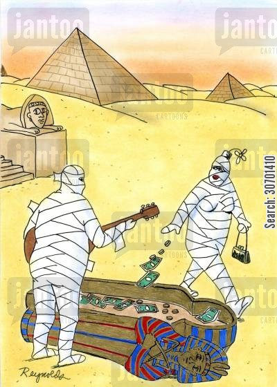 busk cartoon humor: Mummies busking.