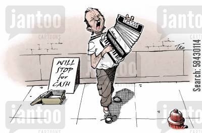 accordions cartoon humor: The Annoying Busker.