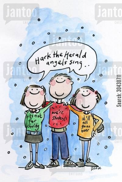 carol singing cartoon humor: Hark the Herald Angels Sing.