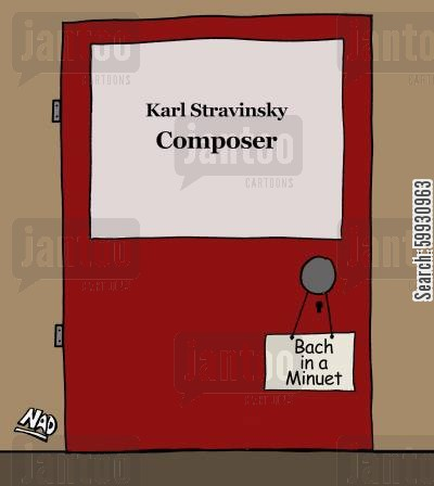 lunchbreaks cartoon humor: A Composer has gone to lunch and put a sign on his door - 'Bach in a minuet'