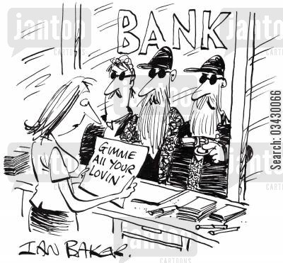 robbery cartoon humor: Gimme all your lovin'.