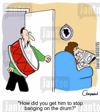 neighbors cartoon humor: 'How did you get him to stop banging on the drum?'