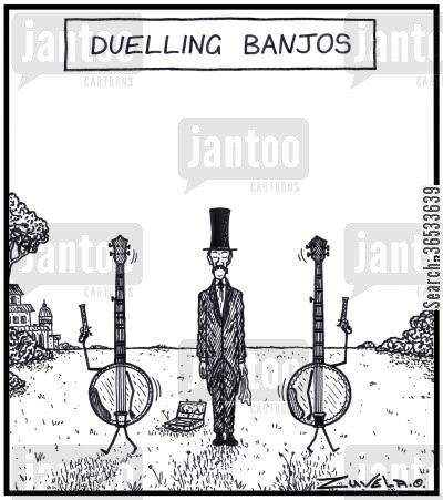 second cartoon humor: Dueling Banjos two Banjos about to shoot it out in a Duel.