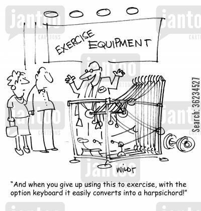 harpsichord cartoon humor: And when you give up using this to exercise, with the option keyboard it easily converts into a harpsichord!