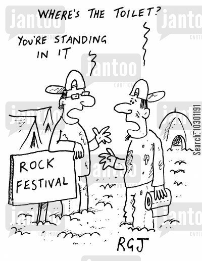 camping out cartoon humor: Rock Festival