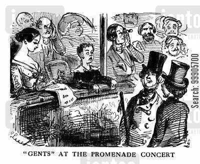 promenade cartoon humor: Gentlemen at the Promenade Concert
