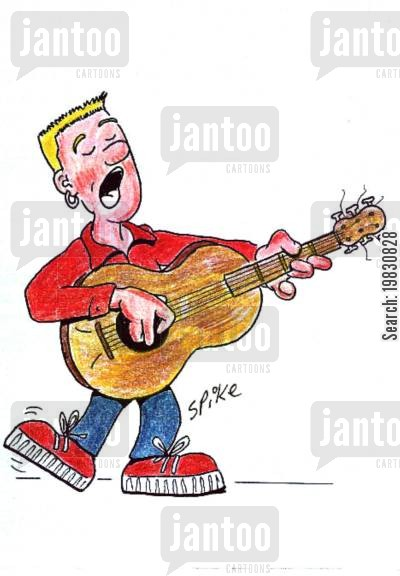 buskers cartoon humor: Guitarist.