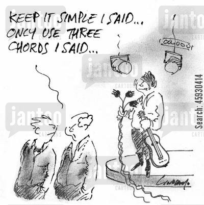 live music cartoon humor: Keep it simple, I said...