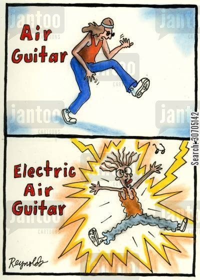 electric guitar cartoon humor: Air Guitar and Electric Air Guitar.