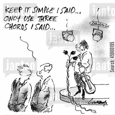 musical concerts cartoon humor: 'Keep it simple I said...only use three chords I said...'
