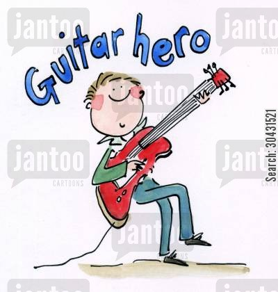 jagger cartoon humor: Guitar Hero.