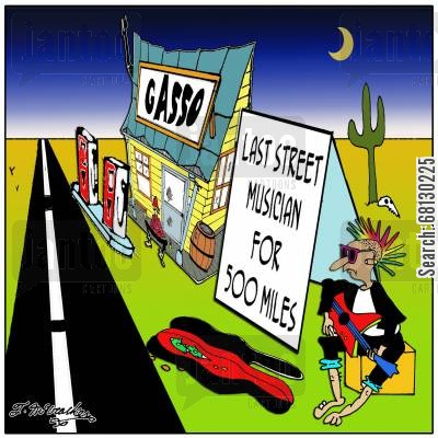 busk cartoon humor: Last Street Musician for 500 Miles...