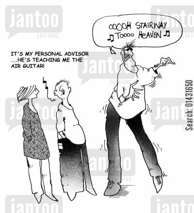 air guitarist cartoon humor: It's my personal advisor, he's teaching me the air guitar.