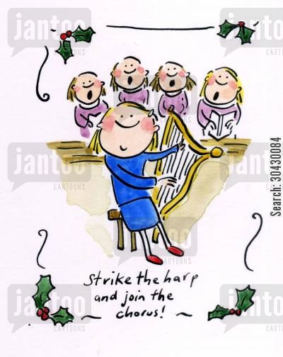 harpists cartoon humor: Strike the harp and join the chorus!