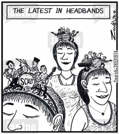 pop groups cartoon humor: The latest in headbands rock and pop bands on top of headbands worn by models