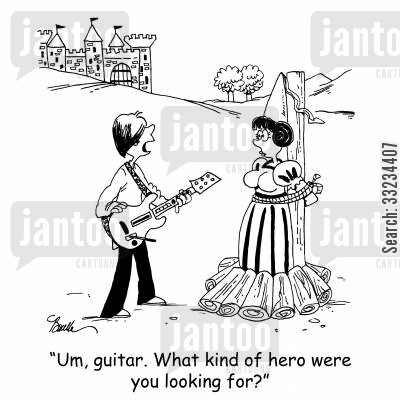 damsel in distress cartoon humor: 'Um, guitar. What kind of hero were you looking for?'