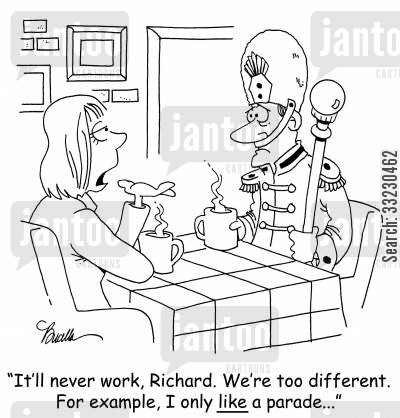 breaking-up cartoon humor: 'It'll never work, Richard. We're too different. For example, I only like a parade...'