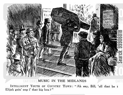 country town cartoon humor: Taking Music to a Country Town