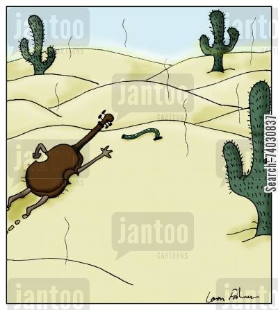 humidity cartoon humor: A violin crawls towards a Dampit in the desert.