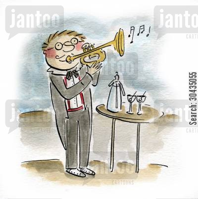 jazz musician cartoon humor: Jazz Trumpeteer