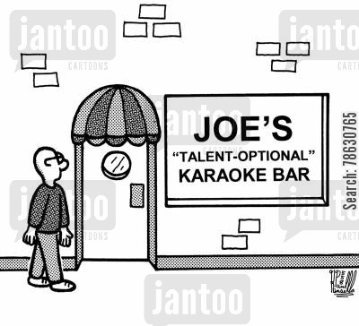 talent cartoon humor: Joe's 'Talent-Optional' Karaoke Bar