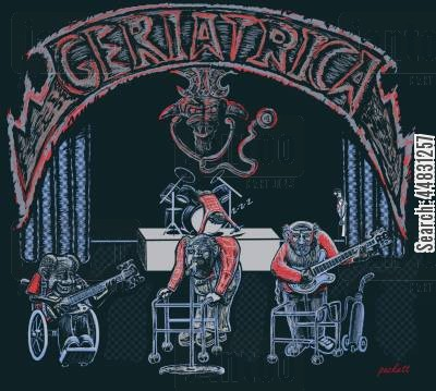 bands cartoon humor: An elderly group of bandmates make up the bankd geriatrica.