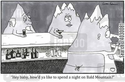 symphony cartoon humor: 'Hey baby, how'd ya like to spend a night on Bald Mountain?'