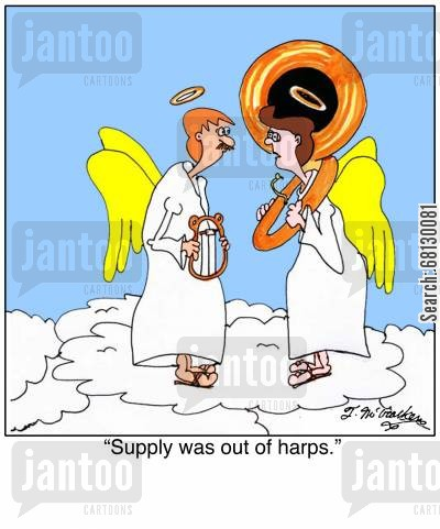 tubas cartoon humor: Supply was out of harps.