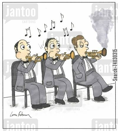 trumpets cartoon humor: A trumpet player using his horn as a pipe during a concert.